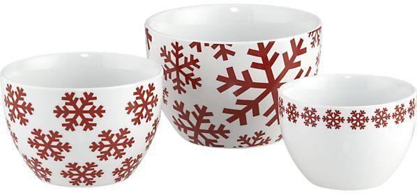 Crate & Barrel 3-Piece Holiday Snowflake Nesting Bowl Set