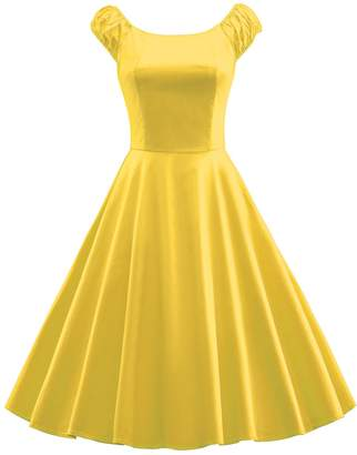 Tecrio Women 1950's Style Audrey Hepburn Vintage Scoop Neck Evening Party Dress