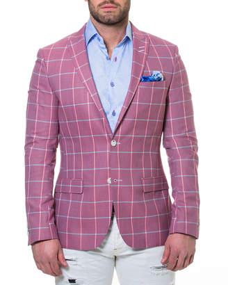 Maceoo Men's Descartes Check Two-Button Cotton Blazer