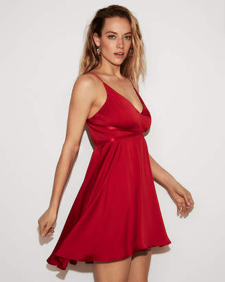 Express Petite Satin Fit And Flare Babydoll Dress