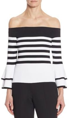 Scripted Striped Off-The-Shoulder Bell Sleeve Sweater $150 thestylecure.com
