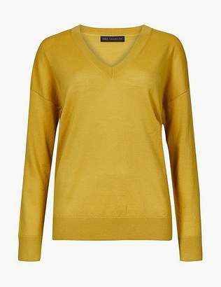 Marks and Spencer Pure Merino Wool Relaxed Fit V-Neck Jumper