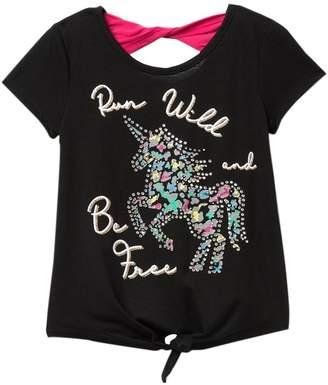 Beautees Short Sleeve Tie Front Back Bow Unicorn Shirt (Big Girls)