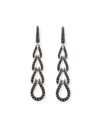 John Hardy Classic Chain Four-Loop Earrings with Black Sapphires