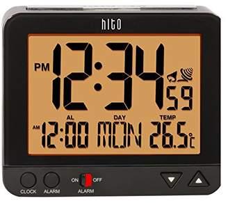 "DAY Birger et Mikkelsen hito 3.8"" Digital Battery Atomic Alarm Clock Bedside Travel Auto Time Set Auto Night light Date Indoor Temperature 4 Timezones for Bedroom Office Desk"
