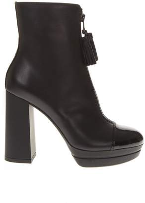 Hogan Black Leather Platform Boots