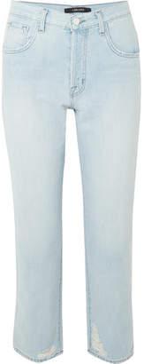 J Brand Wynne Distressed High-rise Straight-leg Jeans - Light denim
