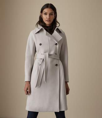 Reiss EILISH DOUBLE BREASTED COAT Neutral