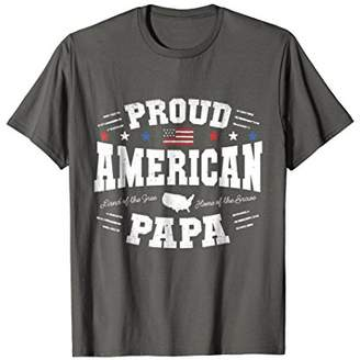 Proud American Papa Flag USA 4th of July Patriotic T Shirt