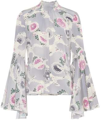 Co Floral-printed silk top