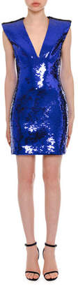 Versace Plunging Sleeveless Sequin Mini Dress