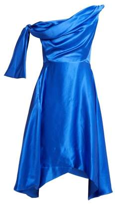 Vivienne Westwood Butternut Draped Asymmetric Silk Dress - Womens - Blue