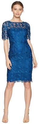 Adrianna Papell Petite Short Sleeve Lace Sheath Dress Women's Dress