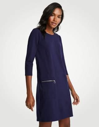 Ann Taylor Zip Pocket Ponte Shift Dress