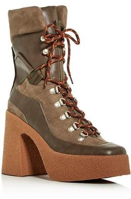 Stella McCartney Women's Stivale Square-Toe Platform Hiker Boots