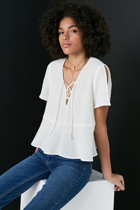 Kimchi Blue Lucy Lace-Up Babydoll Blouse $49 thestylecure.com