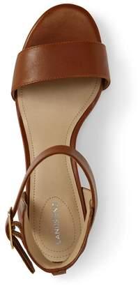 Lands' End Beige Regular Block Heel Leather Sandals
