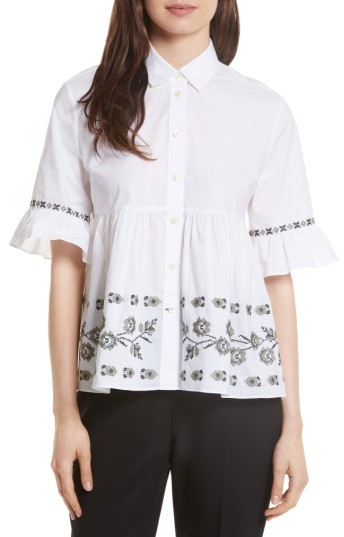 Women's Kate Spade New York Embroidered Ruffle Shirt