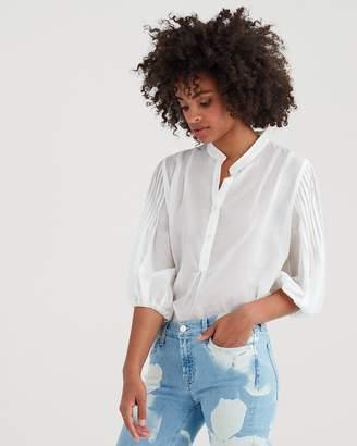 7 For All Mankind Blouson Pleated Top in Ivory