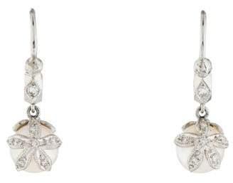 Cathy Waterman Platinum Pearl & Diamond Drop Earrings