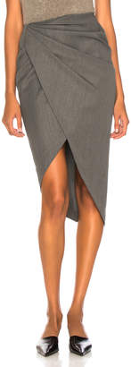 Helmut Lang Draped Wool Skirt