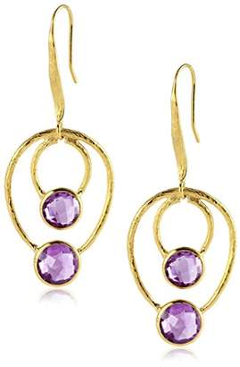 Saachi Tone Amethyst Double Oval Drop Earrings