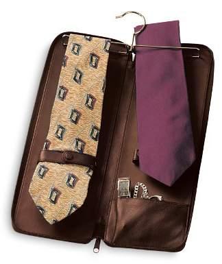 ROYCE New York Leather Travel Tie Case & Cufflink Storage