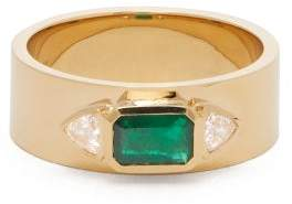 Azlee - Nesw Emerald, Diamond & 18kt Gold Ring - Womens - Green