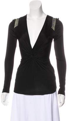 Just Cavalli Animal Print-Accented V-Neck Top
