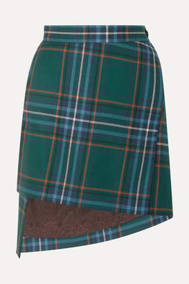 Vivienne Westwood Asymmetric Tartan Wool Mini Skirt - Green
