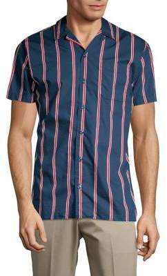 Jack and Jones Notch-Collar Stripe Shirt