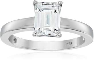 Swarovski Amazon Collection Platinum Plated Sterling Silver Solitaire Ring set with Emerald Cut Zirconia (1.5 cttw), Size 7