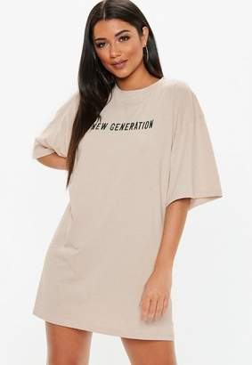Missguided Nude New Generation Embroided Oversized Jersey T-Shirt Dress