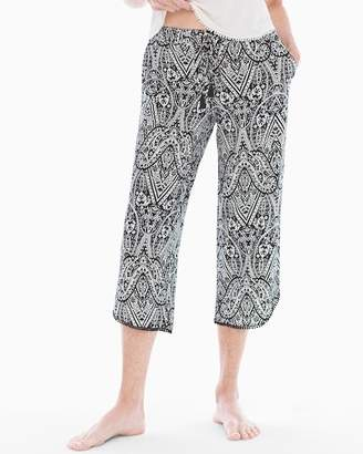 Cool Nights Tassel Crop Pajama Pants Nomadic Scroll Black