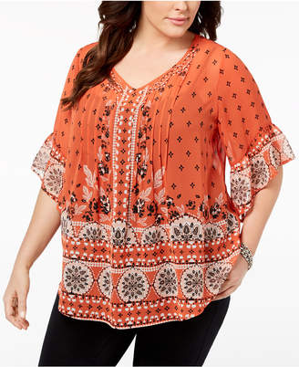 Style&Co. Style & Co Plus Size Sheer Medallion-Print Flutter-Sleeve Top, Created for Macy's