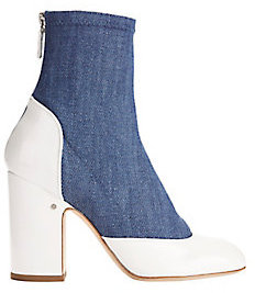 Laurence Dacade Melody Denim and Patent Leather Booties $890 thestylecure.com