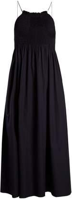 Calvin Klein Sleeveless smocked-bodice cotton-poplin midi dress