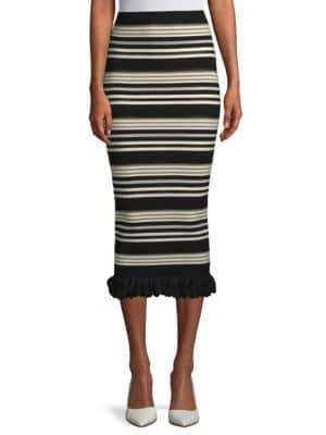 Ronny Kobo Marta Striped Midi Skirt