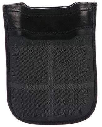 Burberry Beat Check Leather-Trim Phone Case