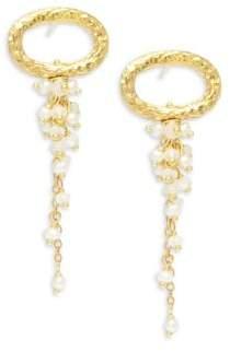 Azaara2.5MM White Potato Pearl, Moonstone & 22K Goldplated Sterling Silver Drop Earrings