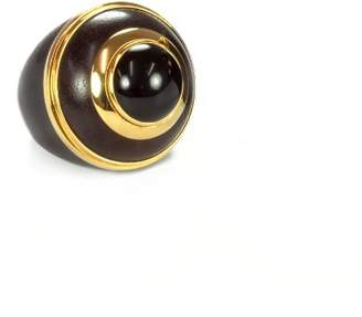 The Branch Rosewood, Gold And Black Onyx Round Stone Ring - Size Large