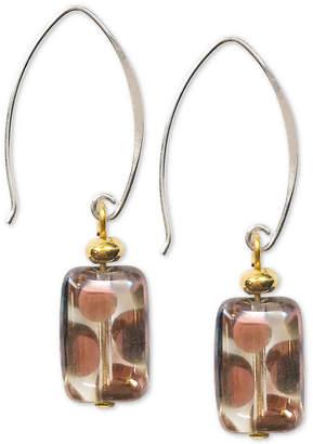 Jody Coyote Polka Dot Rectangle Glass Bead Drop Earrings in Sterling Silver & Gold-Plate
