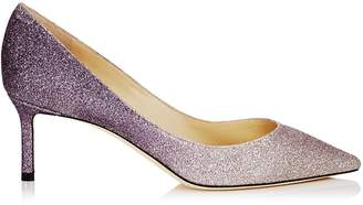 Jimmy Choo ROMY 60 Platinum Amethyst Dusty Glitter Degrade Pointy Toe Pumps