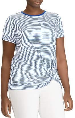 Lauren Ralph Lauren Plus Twist Hem Stripe Top