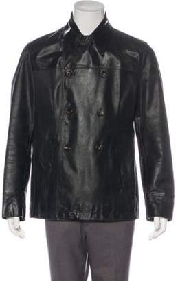 Romeo Gigli Leather Double-Breasted Coat black Leather Double-Breasted Coat