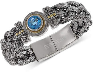 Effy Balissima by Blue Topaz (4 ct. t.w.) and Diamond (1/5 ct. t.w.) Braided Bracelet in Sterling Silver & 18k Gold
