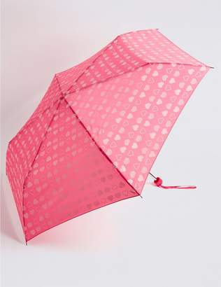 Marks and Spencer Heart Print Compact Umbrella with Stormwear