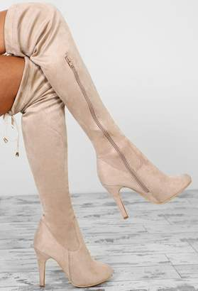 fa890c66ec0 Pink Boutique City Chic Nude Faux Suede Over The Knee Stiletto Boots