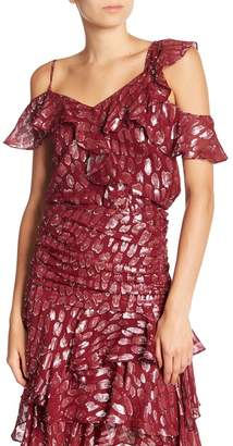 Veronica Beard Benton Silk Blend Cold Shoulder Animal Print Blouse