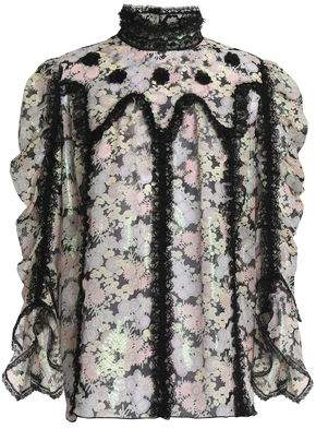 Anna Sui Lace-trimmed Fil Coupe Silk-blend Blouse
